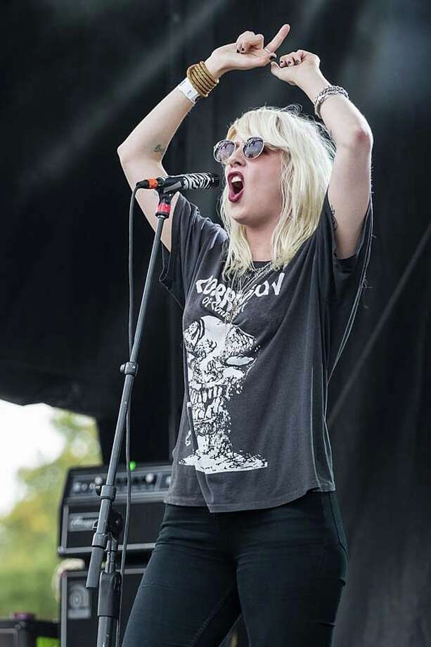 Vocalist Mish Way of White Lung performs on stage during Day 2 of Fun Fun Fun Fest at Auditorium Shores on November 9, 2013 in Austin, Texas.  (Photo by Rick Kern/Getty Images) Photo: Rick Kern, Getty Images / 2013 Rick Kern