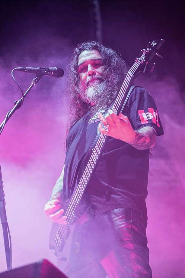Musician/vocalist Tom Araya of Slayer performs on stage during Day 3 of Fun Fun Fun Fest at Auditorium Shores on November 10, 2013 in Austin, Texas.  (Photo by Rick Kern/Getty Images) Photo: Rick Kern, Getty Images / 2013 Rick Kern