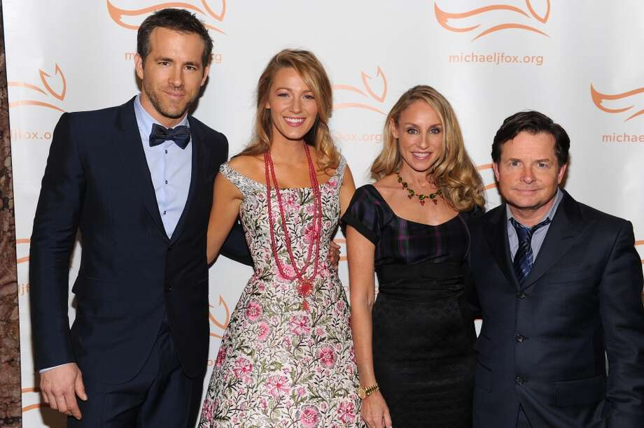 (L-R) Ryan Reynolds, Blake Lively, Tracy Pollan and Michael J. Fox attend the 2013 A Funny Thing Happened On The Way To Cure Parkinson's event benefiting The Michael J. Fox Foundation for Parkinson's Research at The Waldorf=Astoria on November 9, 2013 in New York City. Photo: Dimitrios Kambouris/MJF2013, WireImage