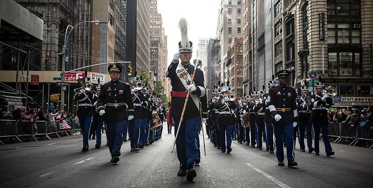 Members of United States Army march in the Veteran's Day Parade on November 11, 2013 in New York City. The parade included members of all four branches of service, as well as members of the Fire Department of New York (FDNY), New York Police Department (NYPD) and veterans from all major conflicts that the United States has been involved with since World War Two.