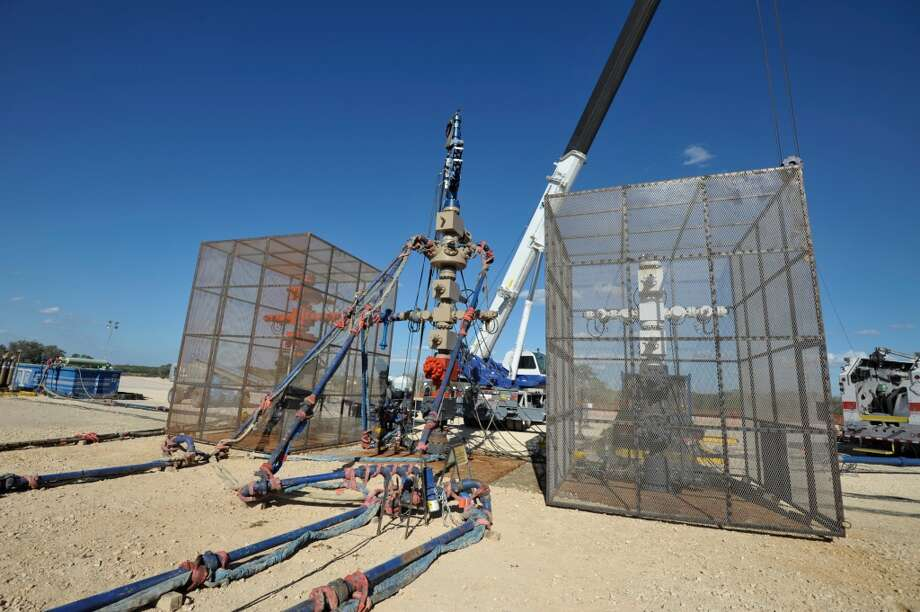 A frack stack, where all of the fluid for a hydraulic fracturing operation is pumped into the well, works in the Eagle Ford Shale. It is part of BHP Billiton oil & gas operations in South Texas. Photo: BHP Billiton