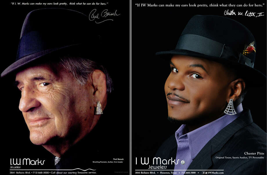 Former Texans linebacker Chester Pitts, right, is the face behind a new I.W. Marks jewelry ad that recalls one from the 1980s featuring Paul Boesch, left. Photo: --