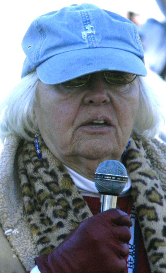 The VFW Ladies Auxiliary's Bette-Lou Emmons offers her perspectives during New Milford's Veterans Day ceremony on the south end of the Village Green in New Milford. Nov. 11, 2013 Photo: Norm Cummings / The News-Times