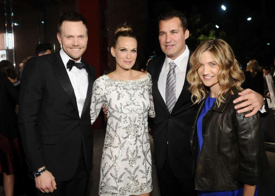 (L-R) Host Joel McHale, actress Molly Sims, producer Scott Stuber and Sarah Williams attend the second annual Baby2Baby Gala, honoring Drew Barrymore, at Book Bindery on November 9, 2013 in Culver City, California. Photo: Stefanie Keenan, Getty Images For Baby2Baby