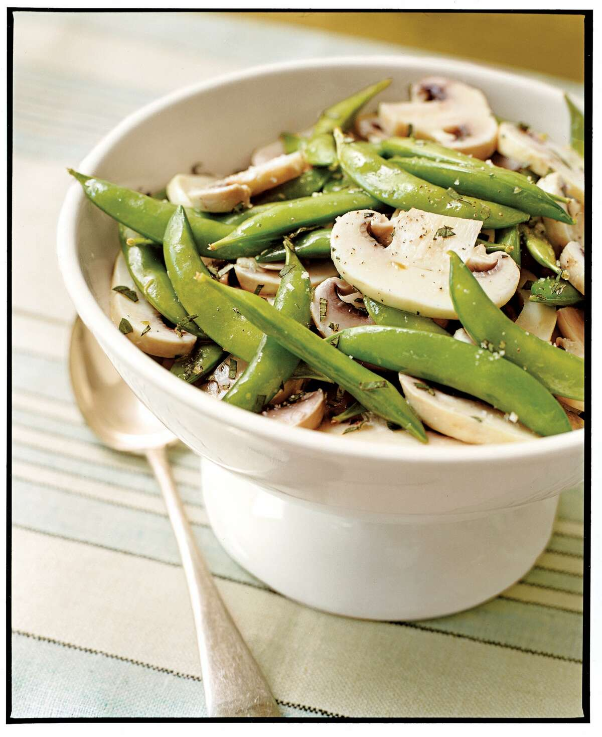 Country Living recipe for Snap Pea and Marinated Mushroom Salad.