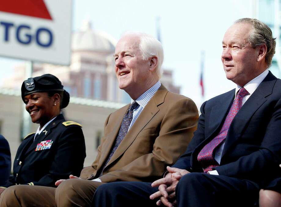 11/11/13: From left to right, Col. Deborah grays, US Army, US Senator John Cornyn and Houston Astros owner Jim Crane listen to Colonel George McDowell (ret)  World War II veteran speaks at the Veterans Day -November 11, 2013, Salute to Veterans at Minute Maid Park in Houston, Texas. Photo: Thomas B. Shea, For The Chronicle / © 2013 Thomas B. Shea
