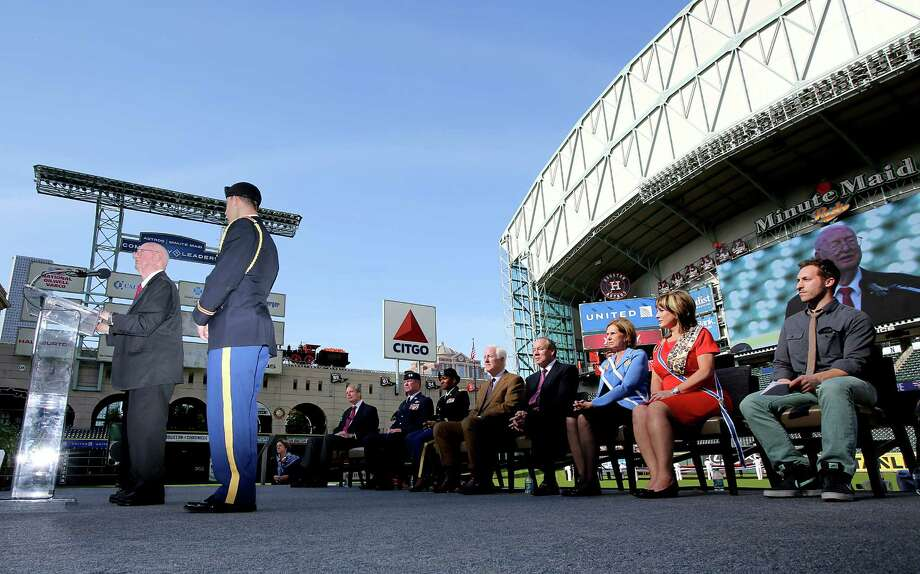 11/11/13:Colonel George McDowell (ret)  World War II veteran speaks at the Veterans Day -November 11, 2013, Salute to Veterans at Minute Maid Park in Houston, Texas. Photo: Thomas B. Shea, For The Chronicle / © 2013 Thomas B. Shea