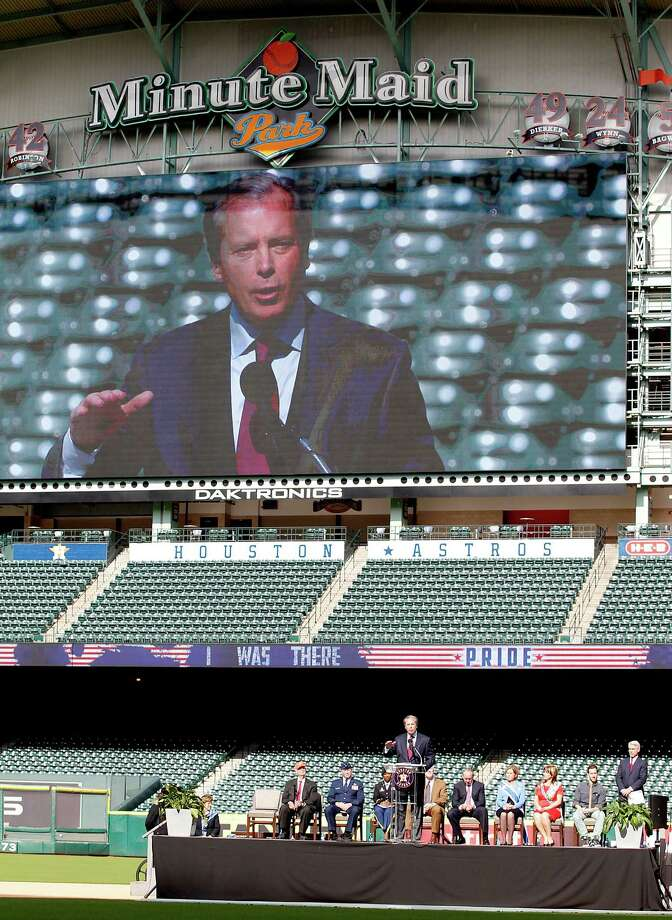 11/11/13: Houston Astros Owner Jim Crane speaks at the Veterans Day -November 11, 2013, Salute to Veterans at Minute Maid Park in Houston, Texas. Photo: Thomas B. Shea, For The Chronicle / © 2013 Thomas B. Shea