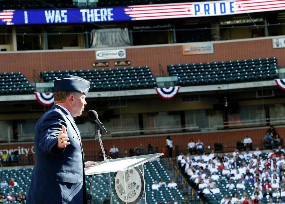 11/11/13: Major General John Nichols, Adjutant General of the State of Texas speaks at the Veterans Day -November 11, 2013, Salute to Veterans at Minute Maid Park in Houston, Texas. Photo: Thomas B. Shea, For The Chronicle / © 2013 Thomas B. Shea