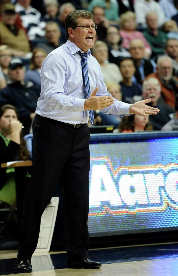 Connecticut head coach Geno Auriemma reacts during the second half of an NCAA college basketball game against Stanford, Monday, Nov. 11, 2013, in Storrs, Conn. Connecticut won 76-57. Photo: Jessica Hill, AP / Associated Press