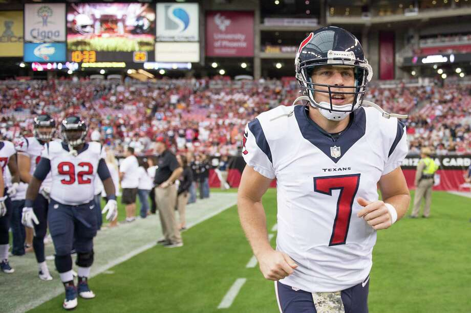 Houston Texans quarterback Case Keenum takes the field before an NFL football game at University of Phoenix Stadium on Sunday, Nov. 10, 2013, in Glendale, Ariz. ( Smiley N. Pool / Houston Chronicle ) Photo: Smiley N. Pool, Staff / © 2013  Houston Chronicle