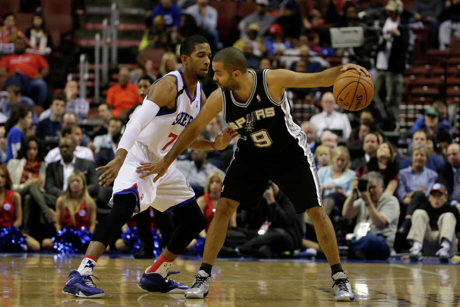 San Antonio Spurs' Tony Parker in action during an NBA basketball game against the Philadelphia 76ers, Monday, Nov. 11, 2013, in Philadelphia. (AP Photo/Matt Slocum) Photo: Matt Slocum, Associated Press / AP