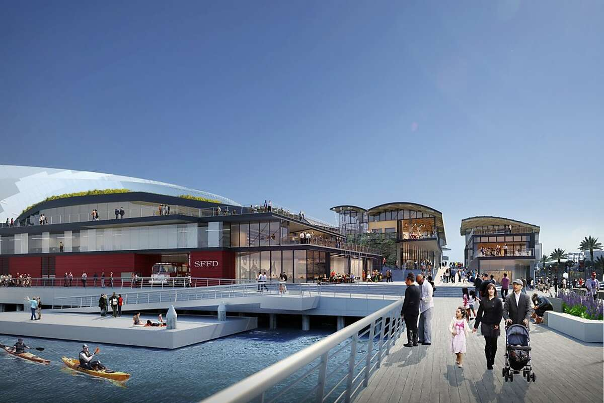 Under the Golden State Warriors' redesigned arena plan to be released Tuesday, a public plaza backed by a restaurant will replace what had been a high staircase and an entrance to a parking garage on the northwest corner of Piers 30-32. A gently sloping walkway flanked by shops and restaurants would lead up to the arena. The parking garage entrance was moved mid block. The plan also calls for a fire station and water taxi dock on that corner of the site.
