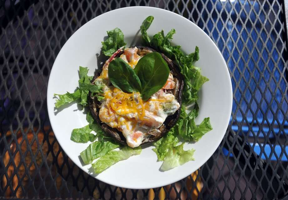 The stuffed portabello mushroom from the Logon Cafe's selection of meatless menu items. Photo: Cat5