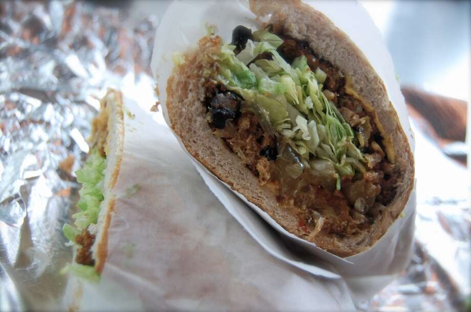 Which Wich's black bean patty sandwich, a popular vegetarian item on their menu. Photo: Laura Virginia