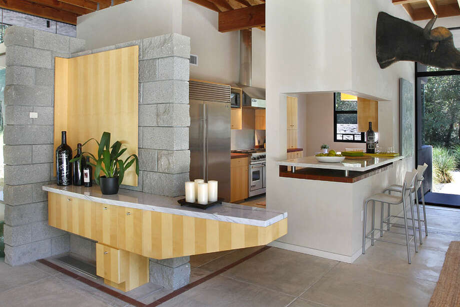 Kitchen with interesting design elements. Photos via Sotheby's/Ginger Martin