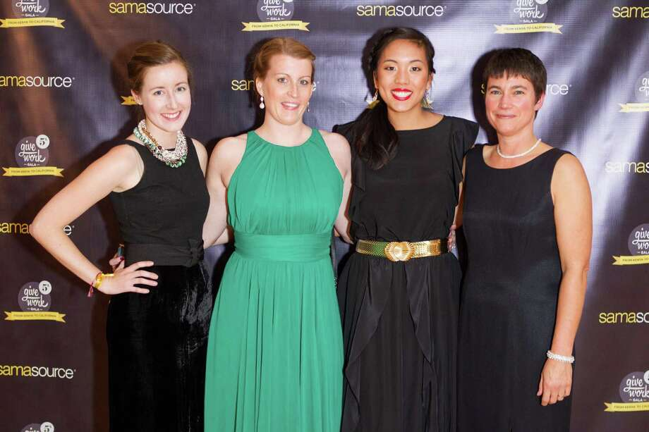 Megan O'Connell, Celie Jenkins, Ashley Chin and Mary Forster at the 5th Annual Samasource Give Work Gala at The Regency Ballroom in S.F. on November 1, 2013. Photo: Drew Altizer, Drew Altizer Photography / DREW ALTIZER PHOTOGRAPHY