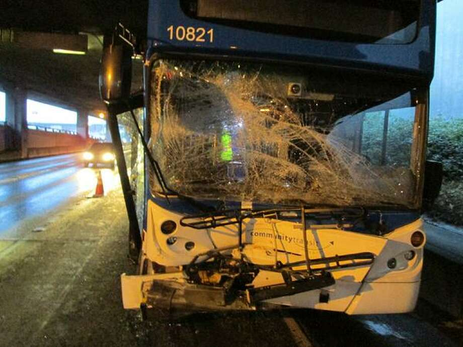 A double-decker Community Transit bus smashed into an SUV that cut off the bus Tuesday morning on the southbound Interstate 5 express lanes. Two bus passengers were taken to the hospital. Photo: State Patrol