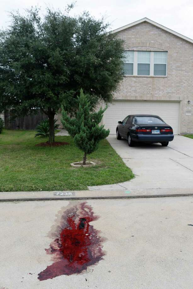 Blood is pooled down the street from where two people were killed and at least 16 others wounded late Saturday when gunfire erupted at a house party in the Cypress area, authorities said. The shooting broke out about 11:15 p.m. in the 7300 block of Enchanted Creek Drive, near Fry and FM 529. Nov. 10, 2013 in Houston. Photo: Eric Kayne, For The Chronicle / Eric Kayne