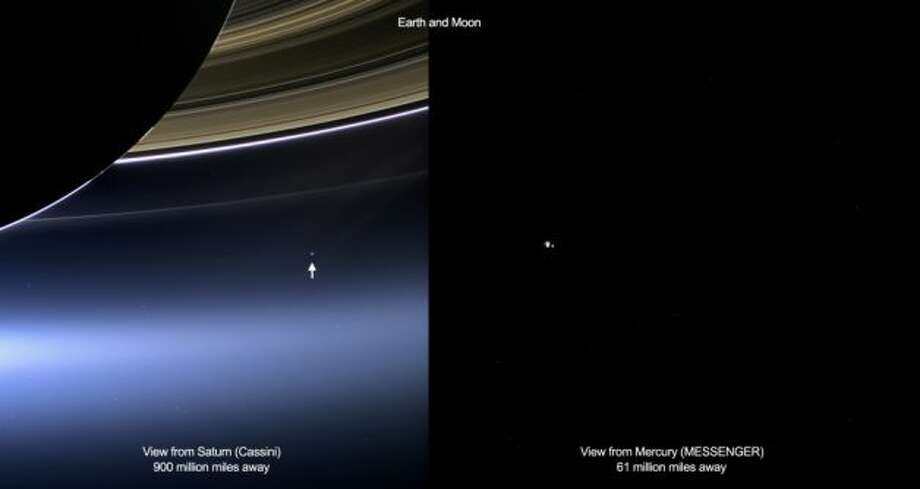 These images show views of Earth and the moon from NASA's Cassini (left) and MESSENGER spacecraft (right) from July 19, 2013.   In the Cassini image, the wide-angle camera has captured Saturn's rings and our planet Earth and its moon in the same frame. Earth, which is 898 million miles (1.44 billion kilometers) away in this image, appears as a blue dot at center right; the moon can be seen as a fainter protrusion off its right side. An arrow indicates their location in the annotated version. (More information about this image can be found at PIA17171). The other bright dots nearby are stars.   In the MESSENGER image, Earth and the moon appear as a pair of bright star-like features. MESSENGER was at a distance of 61 million miles (98 million kilometers) from Earth when it took this image with the wide-angle camera of the Mercury Dual Imaging System. Photo: NASA