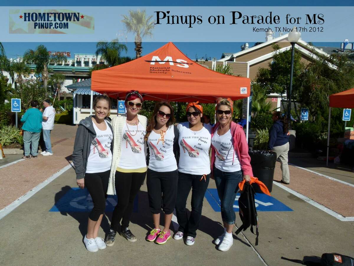 Siera Stanton, left, Edna Salinas, Emmy Stanton Allen, Ac Cabral and Elizabeth Ann Mireles - also known as the Pinups on Parade - are raising funds to fight multiple sclerosis.