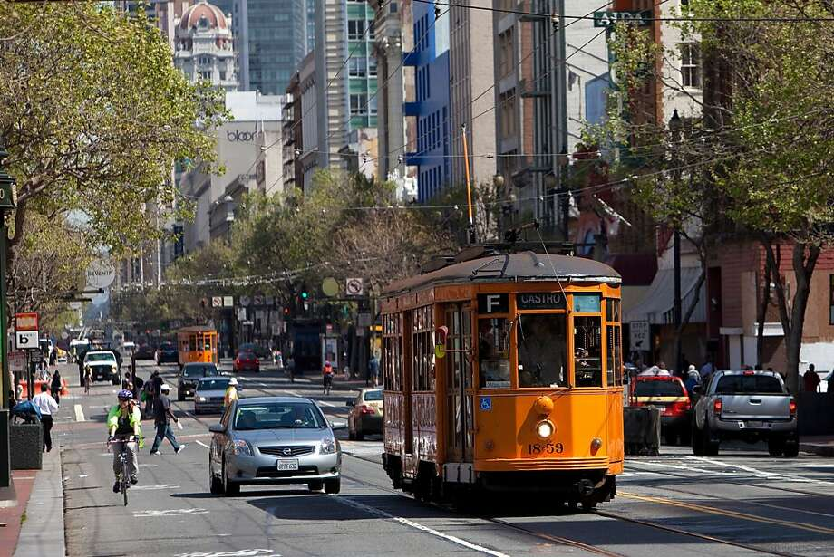 Muni will stop service on its historic cable cars and streetcars lines at 2 pm Sunday to protect them from overzealous football fans vandals and other troublemakers who might get a bit too rowdy after the Niners win - or lose - in Seattle. Photo: David Paul Morris, Special To The Chronicle