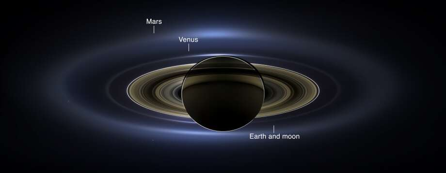 With some labels: NASA's Cassini spacecraft took this natural-color portrait on July 19, 2013, which is the first image to show Saturn, its moons and rings, plus Earth, Venus and Mars, all together.  (You can see a zoomable version in the story below.) Photo: NASA/JPL-Caltech/SSI