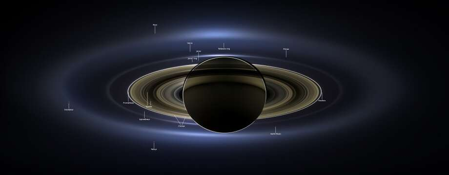 With more labels: NASA's Cassini spacecraft took this natural-color portrait on July 19, 2013, which is the first image to show Saturn, its moons and rings, plus Earth, Venus and Mars, all together.  (You can see a zoomable version in the story below.) Photo: NASA/JPL-Caltech/SSI