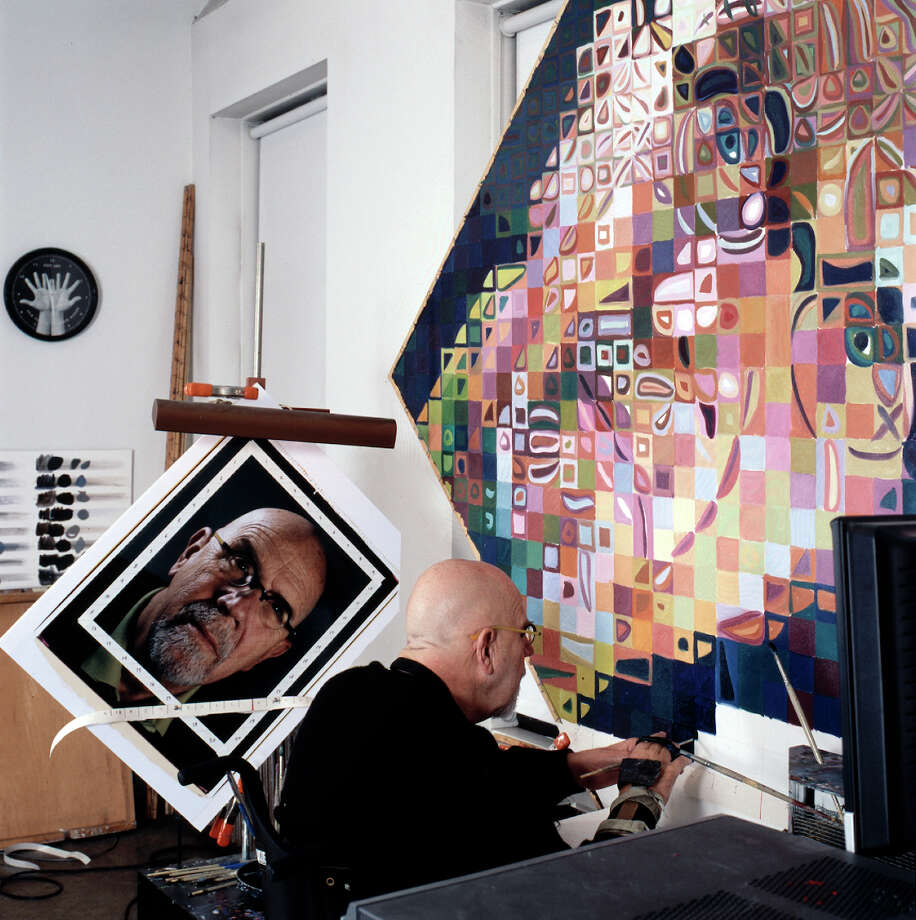 Artist Chuck Close painting ìSelf-Portrait I.î Close's work will be on exhibit at the Westport Arts Center, opening on Nov. 22. Photo: Contributed Photo / Westport News
