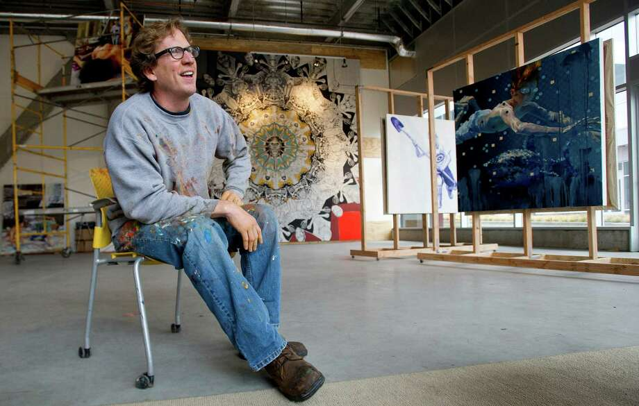 William Nelson sits inside 100 Washington Blvd. on Tuesday, November 12, 2013, where he has a studio as part of Sprouting Spaces 1, a collaboration between Fernando Luis Alvarez Gallery and BLT to fill empty commercial space. Photo: Lindsay Perry / Stamford Advocate