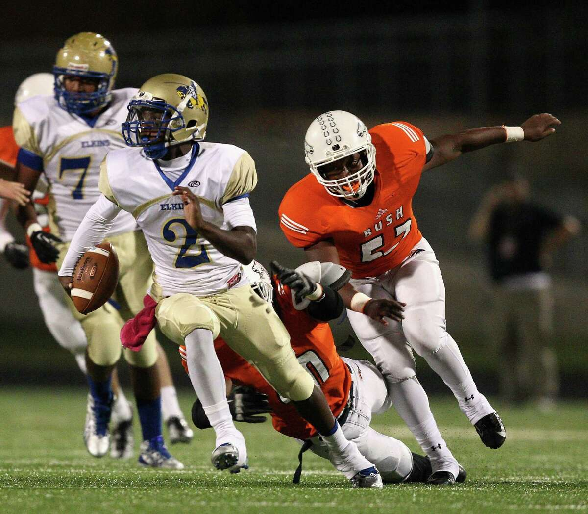Elkins quarterback Jonathan Giles will likely be playing in a new Class 5A district next year.