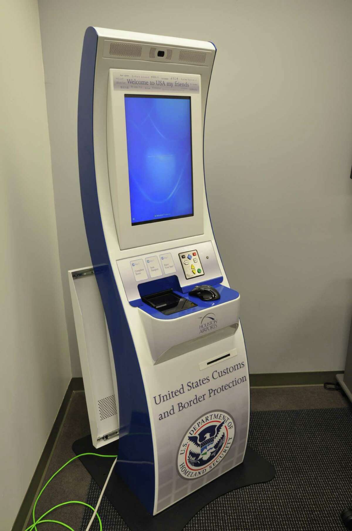 This is a preliminary design for the automated passport kiosks that the Houston Airport System hopes to install at Bush Intercontinental Airport. The City Council will consider the request Wednesday.