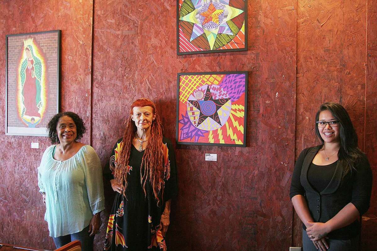 Jean Donatto, left, Birgit Gypsy Walker and Kathy Le of the Children's Prison Arts Project view their work as a catalyst for change among teenagers in Harris County juvenile detention centers. Some of the youths' art has been on display at area locations such as the Breakfast Klub, above. This month, the exhibit is at The Teahouse, 2809 Westheimer.