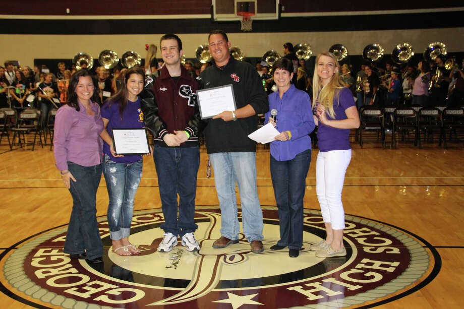 From left, Angie Wierzbicki, Hannah Pryzbilla, Griffin Clark, Jared Sloan, Darla Farmer and Faye James celebrate the presentation of the It's Cool to Care Caring Friends Award. Photo: Provided By George Ranch High School