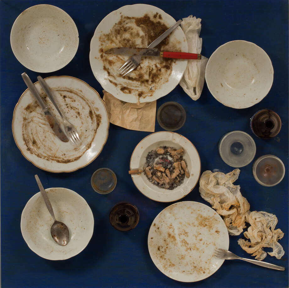 "Daniel Spoerri's ""Tableau piège, 17. Juni 1972"" preserves remnants from a 1972 meal staged by the artist. Photo: Smart Museum Of Art / ONLINE_YES"