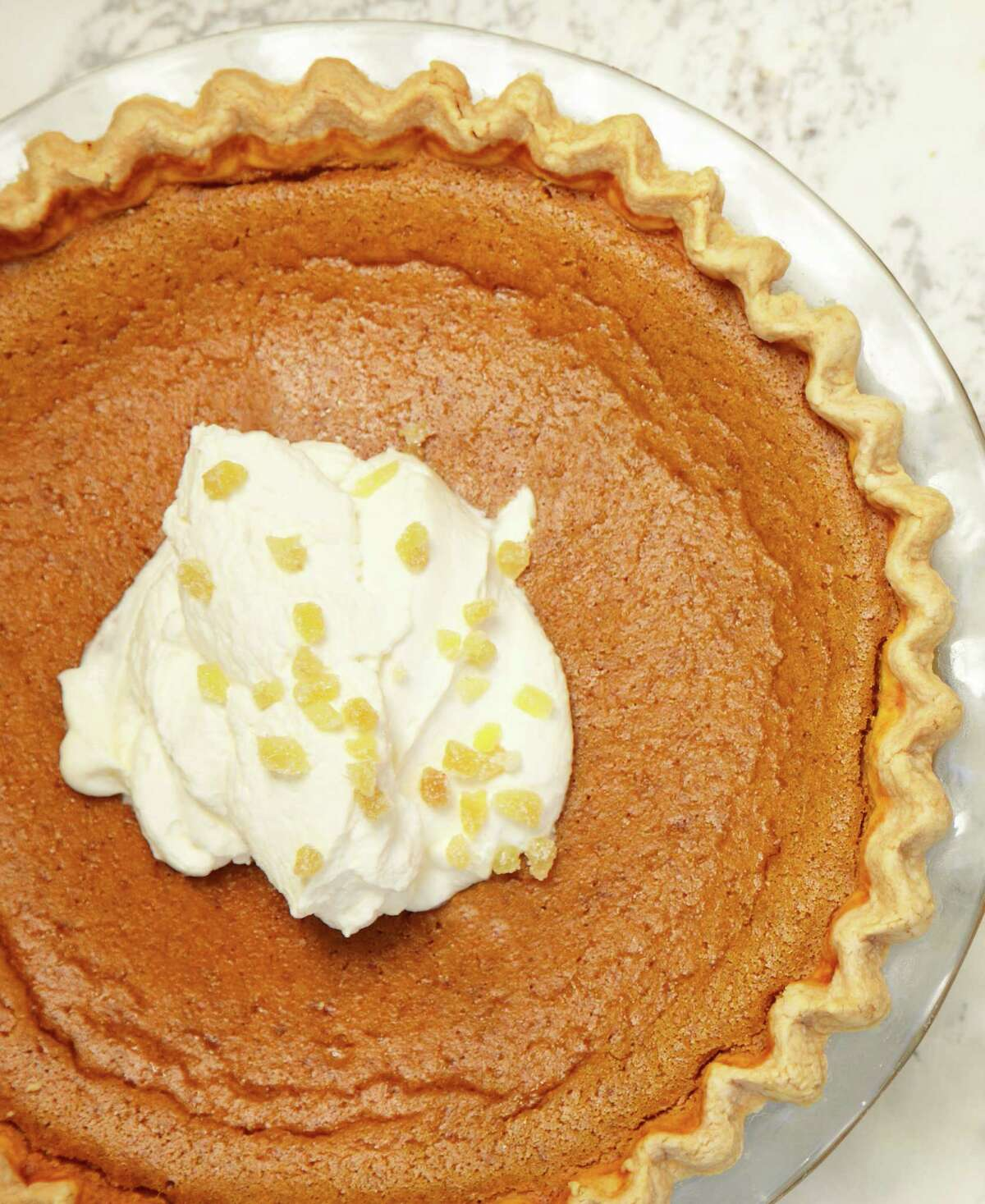 """Brandied Pumpkin Pie This recipe comes from """"The Model Bakery Cookbook"""" by Karen Mitchell and Sarah Mitchell Hansen. Read the recipe."""