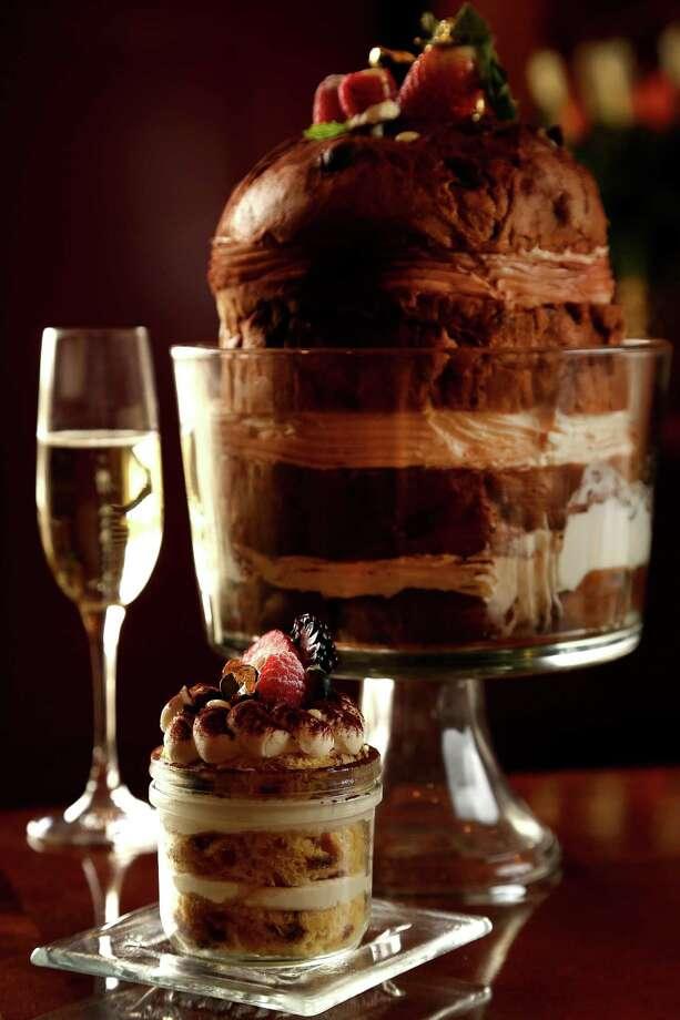 Chef Maurizio Ferrarese's Pannetone Tiramisu dessert at Quattro at Four Seasons,Thursday, Oct. 31, 2013, in Houston. ( Karen Warren / Houston Chronicle ) Photo: Karen Warren, Staff / © 2013 Houston Chronicle