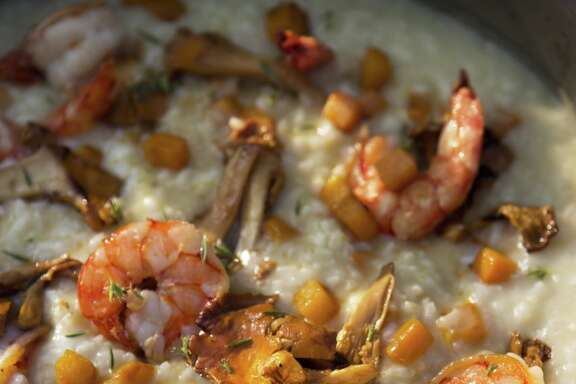 """Shrimp, Chanterelle & Pumpkin Risotto from """"Cooking From the Heart: My Favorite Lessons Learned Along the Way"""" by John Besh."""