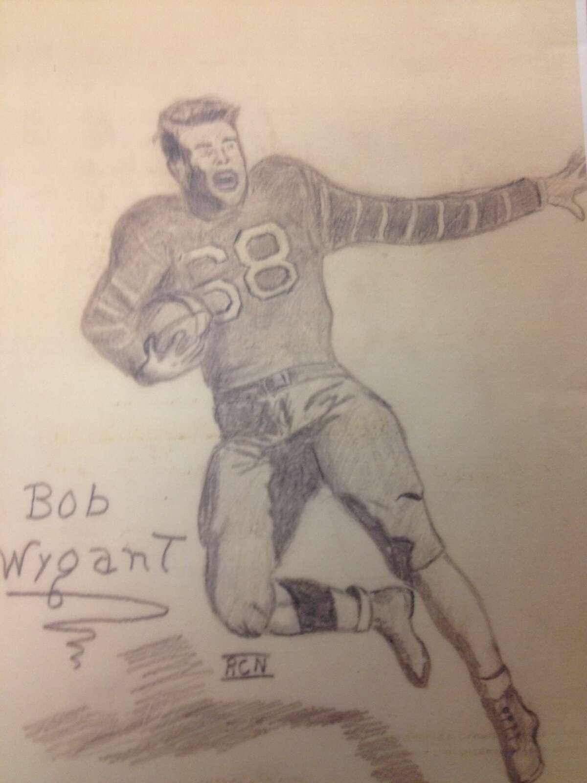 A pencil sketch Richard Case Nagell drew of his buddy, Bob Wygant, a football star at Albany High School. Wygant died at 92 on Sept. 11, 2021. (Photo courtesy Bob Wygant).
