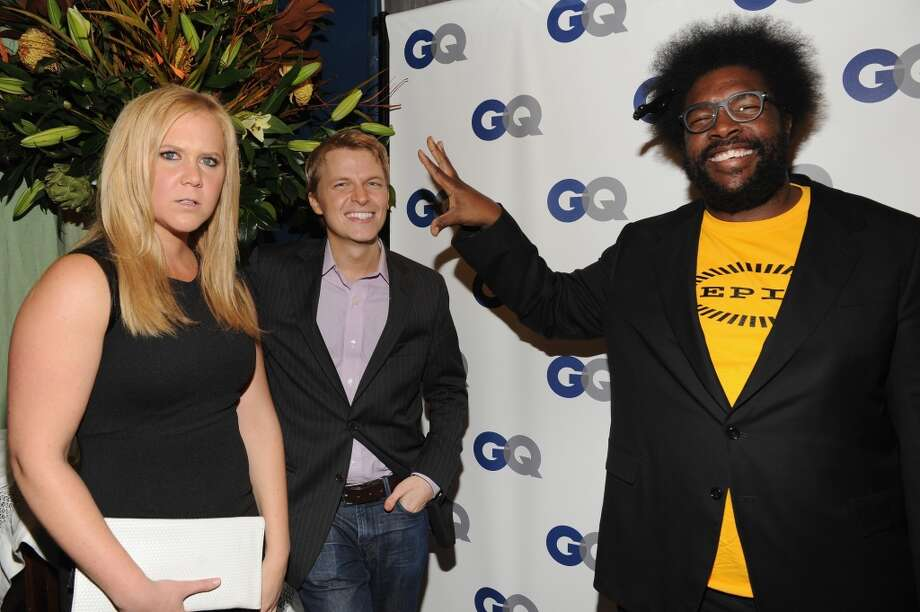 (L-R) Comedian Amy Schumer, Ronan Farrow, and Questlove attend the GQ Men of the Year dinner on November 11, 2013 in New York City. Photo: Kevin Mazur, Getty Images For GQ