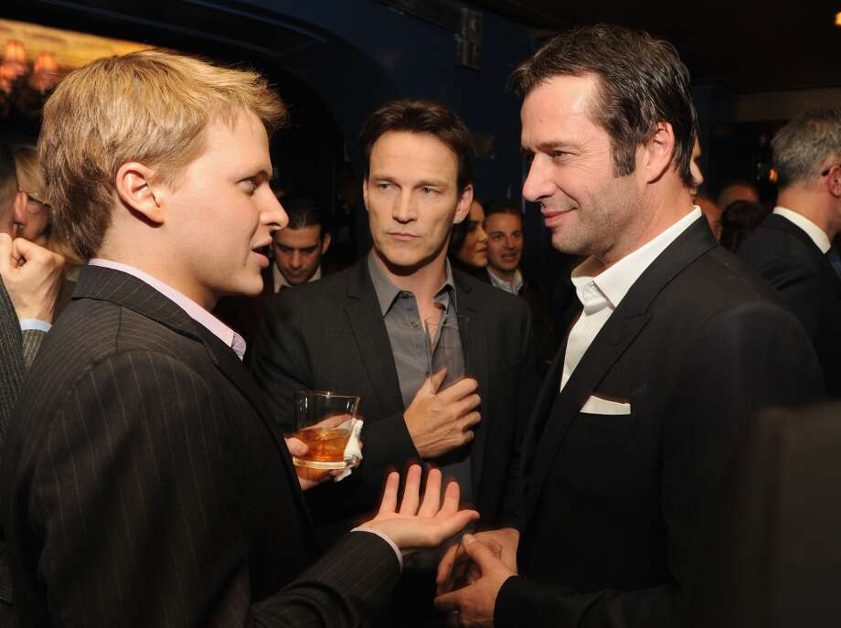 (L-R) Ronan Farrow, and actors Stephen Moyer and James Purefoy attend the GQ Men of the Year dinner on November 11, 2013 in New York City. Photo: Kevin Mazur, Getty Images For GQ