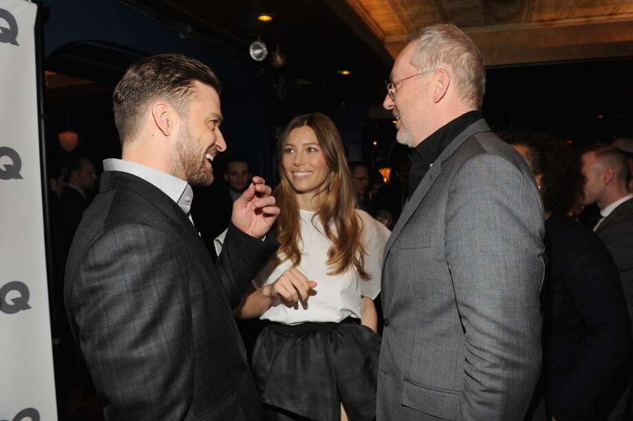 (L-R) Musician/actor Justin Timberlake, actress Jessica Biel, and GQ creative director Jim Moore attend the GQ Men of the Year dinner on November 11, 2013 in New York City. Photo: Kevin Mazur, Getty Images For GQ