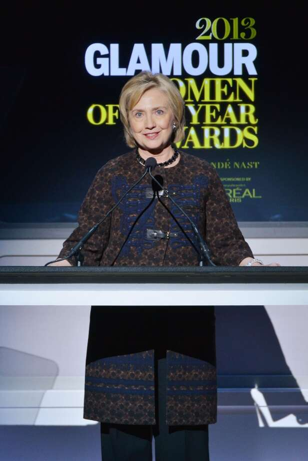 Hillary Rodham Clinton speaks onstage at Glamour's 23rd annual Women of the Year awards on November 11, 2013 in New York City. Photo: Larry Busacca, Getty Images For Glamour