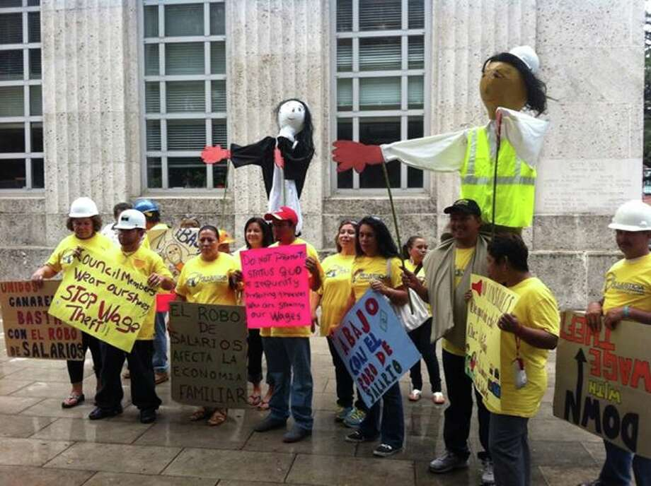 A gathering in October of advocates for justice in Houston on the steps of city Hall.