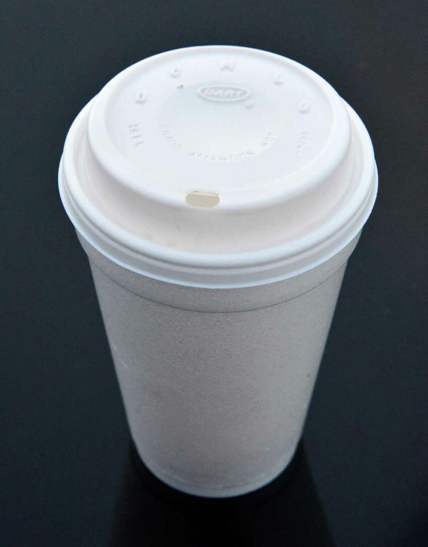 A generic Styrofoam cup with top Tuesday Nov. 12, 2013, in Colonie, NY. (John Carl D'Annibale / Times Union)