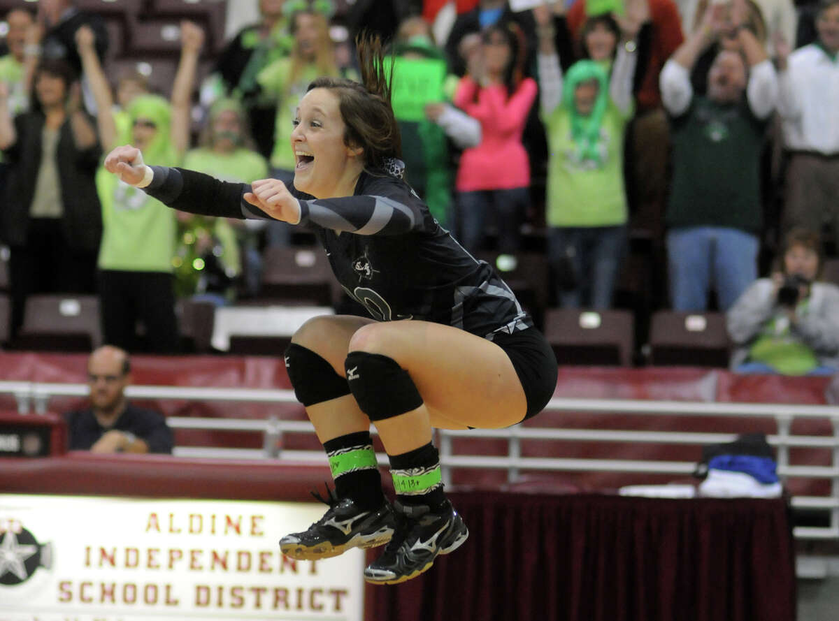 Rachel Bobo and Clear Falls' fans enjoy the Knights' three-set victory over Pearland.