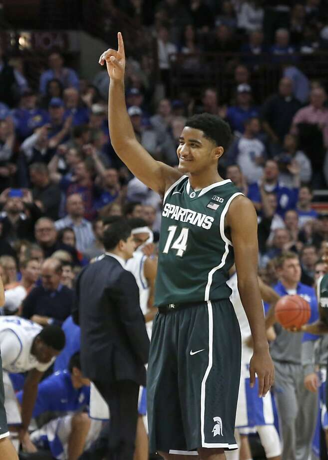 Gary Harris might be predicting the future after his No. 2 Michigan State team defeated top-ranked Kentucky at the Champions Classic in Chicago. Photo: Charles Rex Arbogast, Associated Press