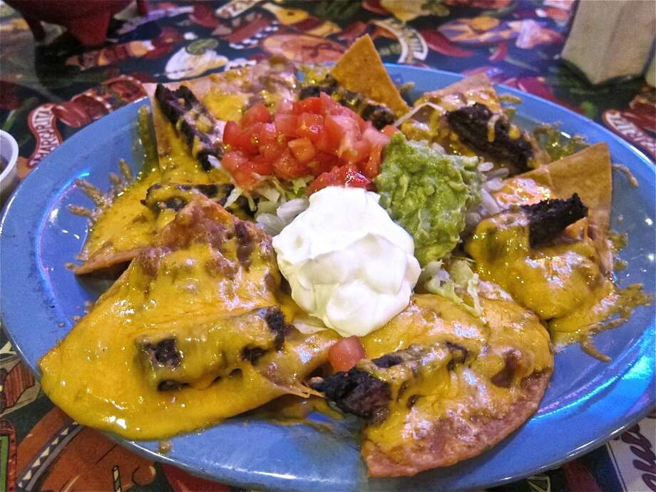Mercy's Nachos with beef fajitas and cheddar at Lupita's in Sugar Land. Photo: Alison Cook