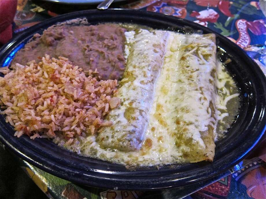 Green chicken enchiladas at Lupita's in Sugar Land. Photo: Alison Cook