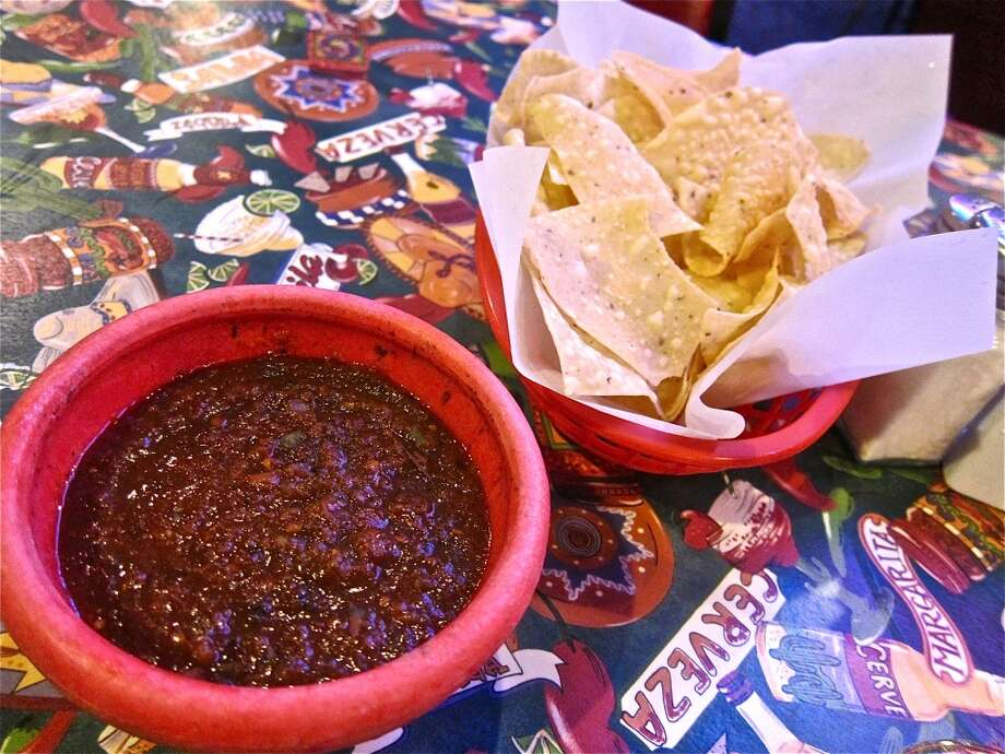 House red salsa and chips at Lupita's in Sugar Land. Photo: Alison Cook